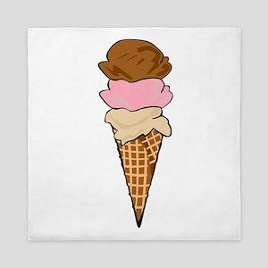 Three Scoop Ice Cream Cone Queen Duvet