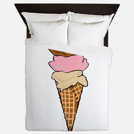 Three Scoop Ice Cream Cone Queen Duvet