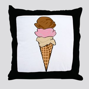 Three Scoop Ice Cream Cone Throw Pillow
