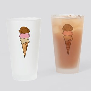 Three Scoop Ice Cream Cone Drinking Glass