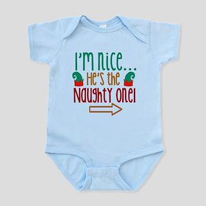 Im Nice Hes Naughty Elf Hat Infant Bodysuit