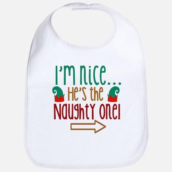 Im Nice Hes Naughty Elf Hat Bib