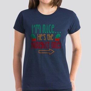 Im Nice Hes Naughty Elf Hat Women's Dark T-Shirt