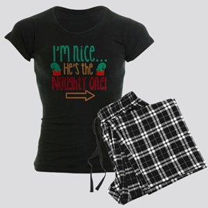 Im Nice Hes Naughty Elf Hat Women's Dark Pajamas