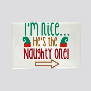 Im Nice Hes Naughty Elf Hat Rectangle Magnet