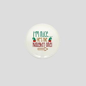 Im Nice Hes Naughty Elf Hat Mini Button