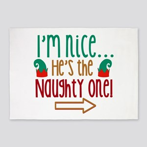 Im Nice Hes Naughty Elf Hat 5'x7'Area Rug