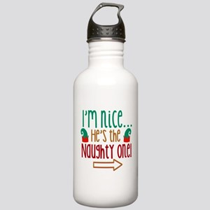Im Nice Hes Naughty Elf Hat Stainless Water Bottle