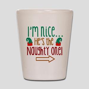 Im Nice Hes Naughty Elf Hat Shot Glass