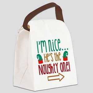 Im Nice Hes Naughty Elf Hat Canvas Lunch Bag
