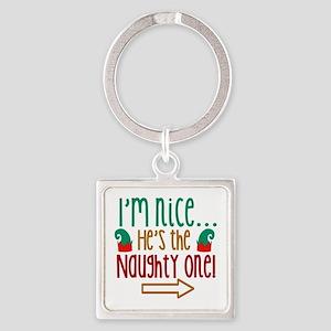 Im Nice Hes Naughty Elf Hat Square Keychain