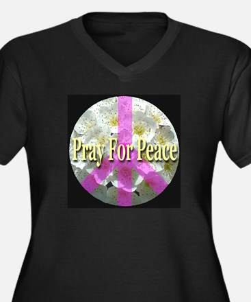 Pray For Peace Angelic Flower Women's Plus Size V-