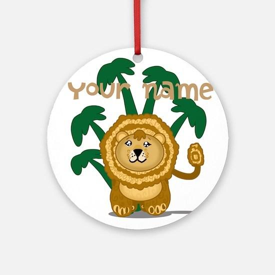 Editable Cute Lion Ornament (Round)