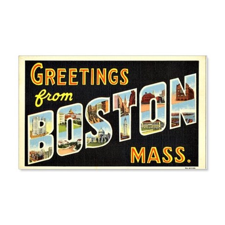 Vintage: Greetings From Boston, M 20x12 Wall Decal