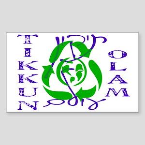 Tikkun Olam Recycle Rectangle Sticker