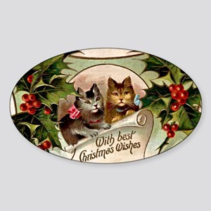 Vintage Christmas - With Best Chris Sticker (Oval)