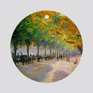 Hyde Park, London--Painting by Cami Round Ornament