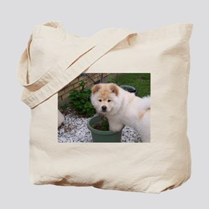 White Chow Chow Puppy Tote Bag