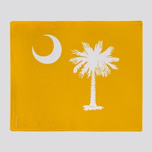 SC Palmetto Moon State Flag Gold Throw Blanket