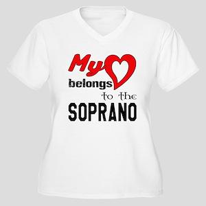 My Heart Belongs Women's Plus Size V-Neck T-Shirt