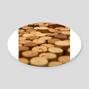 Wine Corks 5 Oval Car Magnet