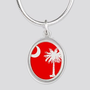 SC Palmetto Moon State Flag Red Silver Oval Neckla