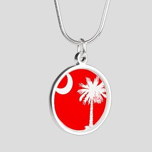 SC Palmetto Moon State Flag Red Silver Round Neckl