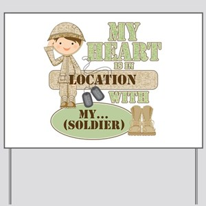 Heart With Soldier Yard Sign