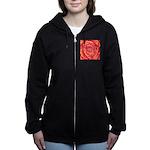Red-Orange Rose Zip Hoodie