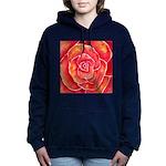 Red-Orange Rose Hooded Sweatshirt