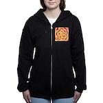 Flame Tip Flower Watercolor Zip Hoodie
