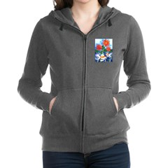 Fish and Flowers Watercolor Zip Hoodie