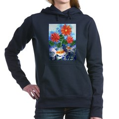 Fish and Flowers Watercolor Hooded Sweatshirt