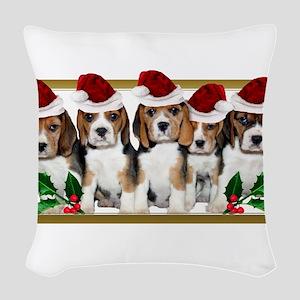 Christmas Beagles Woven Throw Pillow