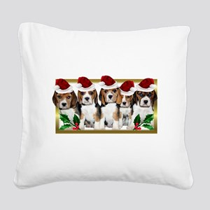 Christmas Beagles Square Canvas Pillow