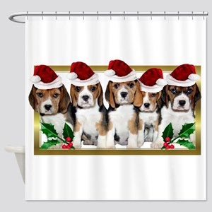 Christmas Beagles Shower Curtain