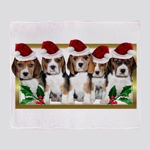 Christmas Beagles Throw Blanket