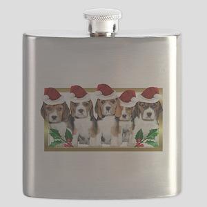 Christmas Beagles Flask
