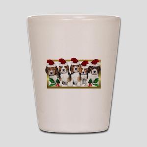 Christmas Beagles Shot Glass