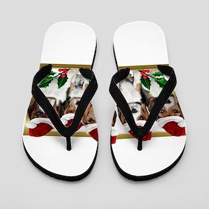 Christmas Beagles Flip Flops