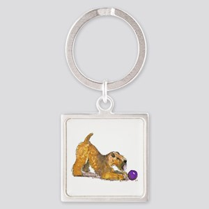 Soft Coated Wheaten Terrier with Ball Keychains