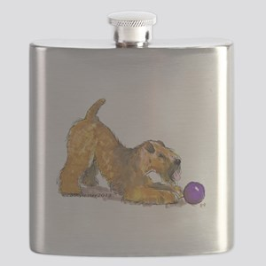 Soft Coated Wheaten Terrier with Ball Flask