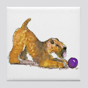 Soft Coated Wheaten Terrier with Ball Tile Coaster