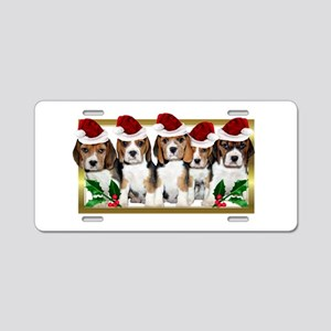 Christmas Beagles Aluminum License Plate
