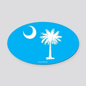 SC Palmetto Moon State Flag Blue Oval Car Magnet