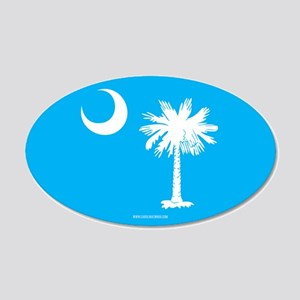 SC Palmetto Moon State Flag Blue 20x12 Oval Wall D