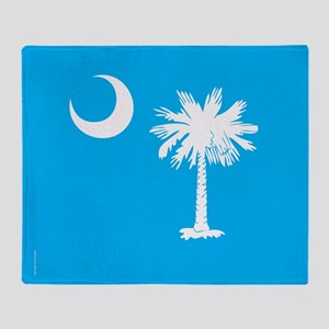 SC Palmetto Moon State Flag Blue Throw Blanket