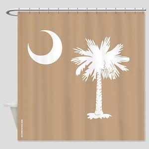 SC Palmetto Moon State Flag Tan Shower Curtain