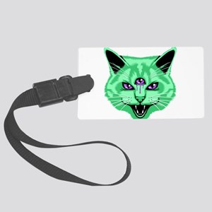 Hiss Cat Green Luggage Tag