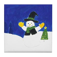 Winter Snowman Tile Coaster